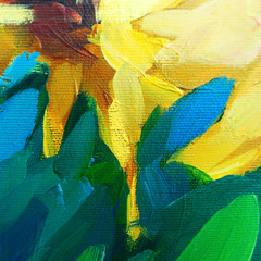 painting for interior oil painting on canvas with sunflower, illustration