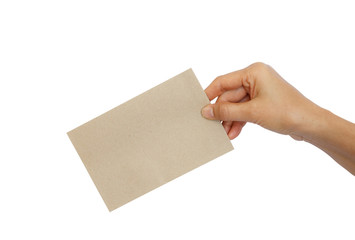 Woman hand holding brown envelope