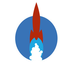 Vintage red rocket ship flying across an oval field of blue  with streaming cloud of smoke trailing behind.