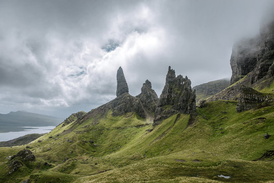 View of The Storr against cloudy sky