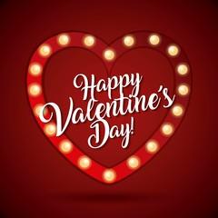 happy valentines day card heart light shiny vector illustration