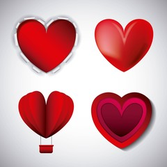 love hearts styles different for valentines day vector illustration