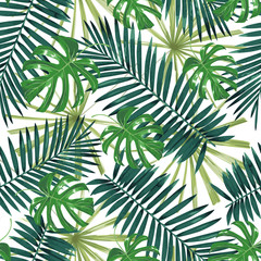 Tropical leaves. Seamless pattern.
