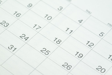 Closed up of date number clean white calendar as year planning, event or appointment