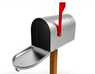 Open empty mailbox isolated on white background. Close up. 3D illustration
