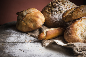 Breads on wooden table