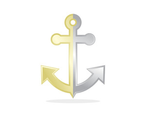 silver gold anchor hook navy marine harbor port symbol icon image