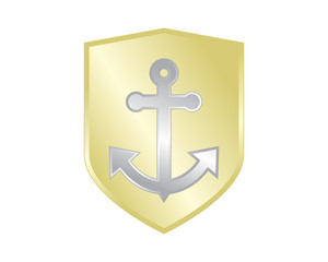 golden shield anchor icon hook navy marine symbol image