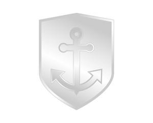 silver shield anchor hook navy marine harbor port symbol icon image
