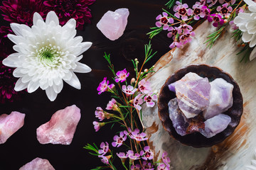 Amethyst and Rose Quartz