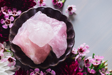 Rose Quartz and Flowers