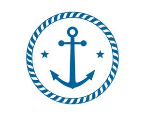 blue anchor icon hook navy marine symbol image