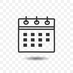 Calendar icon with shadow on transparent background.