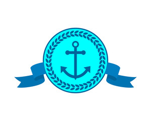 blue anchor hook navy marine harbor port symbol icon image