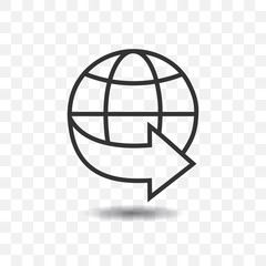 Globe icon with arrow with shadow on transparent background.