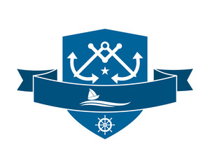 blue shield sailor anchor icon hook navy marine symbol image