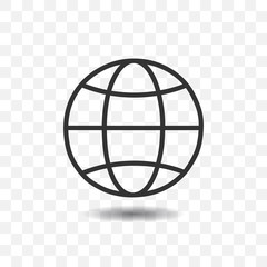 Globe icon with shadow on transparent background.