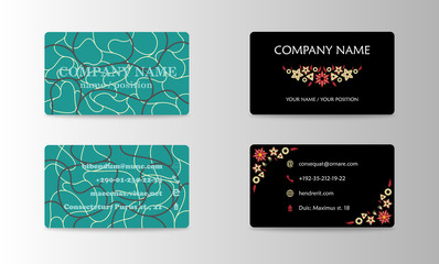 Vector modern creative and trending business card design template in hand made style.