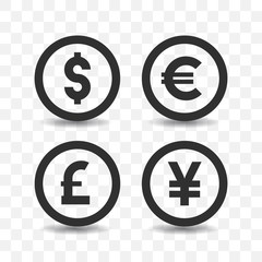 Currency icon set with shadow on transparent background.