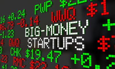 Big Money Startups Stock Market IPO Ticker 3d Illustration