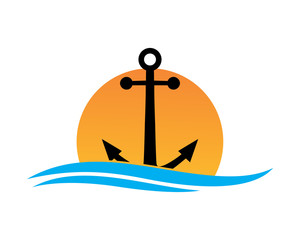 sunset anchor sailor hook navy marine harbor port symbol icon image