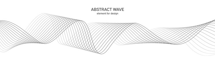 Fotobehang Abstract wave Abstract wave element for design. Digital frequency track equalizer. Stylized line art background. Vector illustration. Wave with lines created using blend tool. Curved wavy line, smooth stripe.