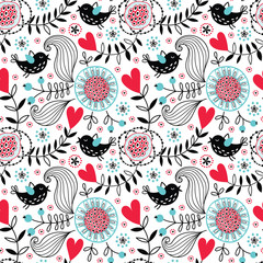 Wall Mural - Romantic vector floral seamless pattern