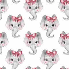 Seamless pattern with elephants. Cute cartoon background 3