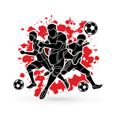 Three Soccer player team composition designed on splatter blood background graphic vector.