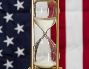 Government Shutdown Time, Hourglass with American Flag