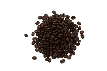 Top view coffee beans on white background.