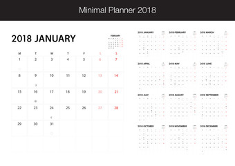 Calendar for 2018 on White Background for organization and business. Week Starts Monday. Minimal Planner with eclipse