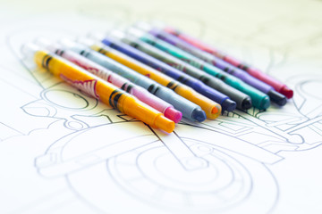 Crayons on Colouring Page