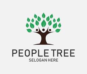people tree logo icon. vector illustration