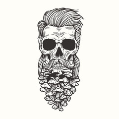 Vector Illustration skull with beard with cones.