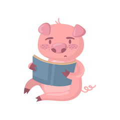 Cute smart pig character reading a book, funny cartoon piggy animal sitting on the floor vector Illustration