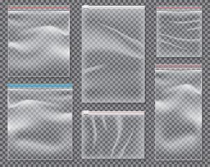 Transparent Nylon Bag with Lock or Zip. Set of Isolated Sealed Polythene Packs.