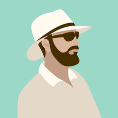 man in hat  and glasses vector illustration flat style front