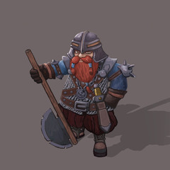dwarf warrior hand painted character illustration