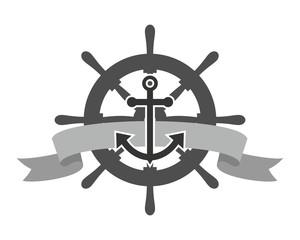 rudder anchor sailor hook harbor navy marine icon symbol image