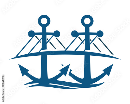 Blue Bridge Anchor Hook Navy Marine Symbol Image Stock Image And