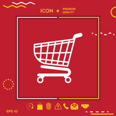 Shopping cart icon, shopping basket design, trolley icon
