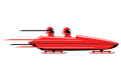 Speeding bobsled vector icon