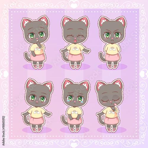 Sweet Kitty Little Cute Kawaii Anime Cartoon Cat Kitten Girl In Dress With Long Fluffy Ears