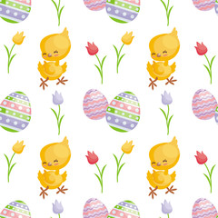 Easter seamless pattern with the image of cute chicks and painted eggs. Vector background.
