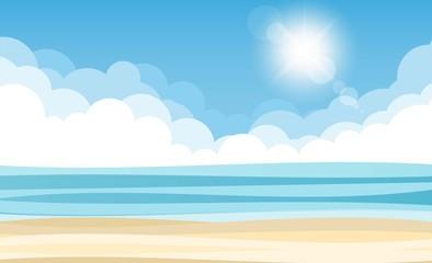 Sky sea and sun. Vector illustration