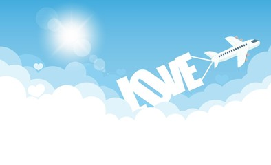 aircraft in the cloud love, vector illustration