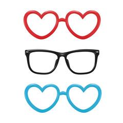 Vector realistic eyeglasses heart shape photobooth