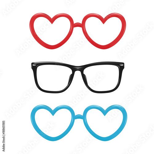 9e565dccdc9 Vector realistic eyeglasses heart shape photobooth