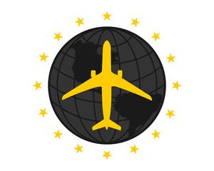 black globe plane airport flight airline airway image symbol icon